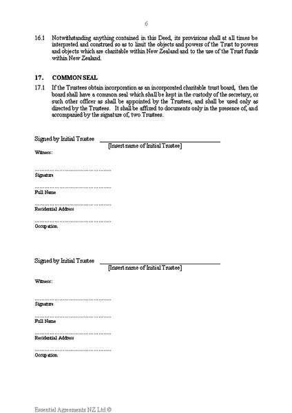 Charitable Trust Deed Document