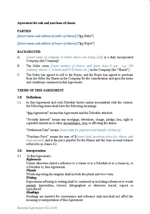 sale and purchase agreement template business  Business – Sale Contracts | New Zealand Legal Documents, agreements ...