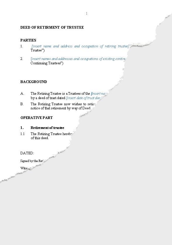 Deed of notice of retirement of trustee