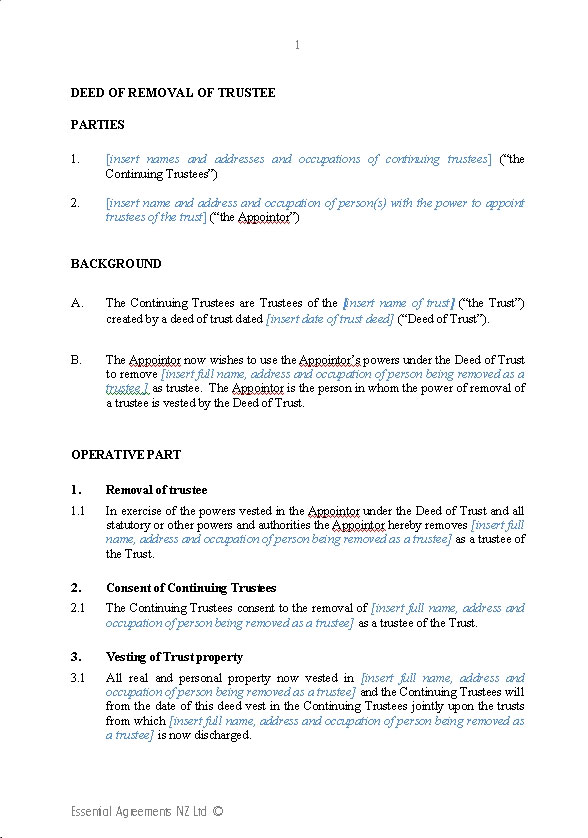 Deed of removal of trustee